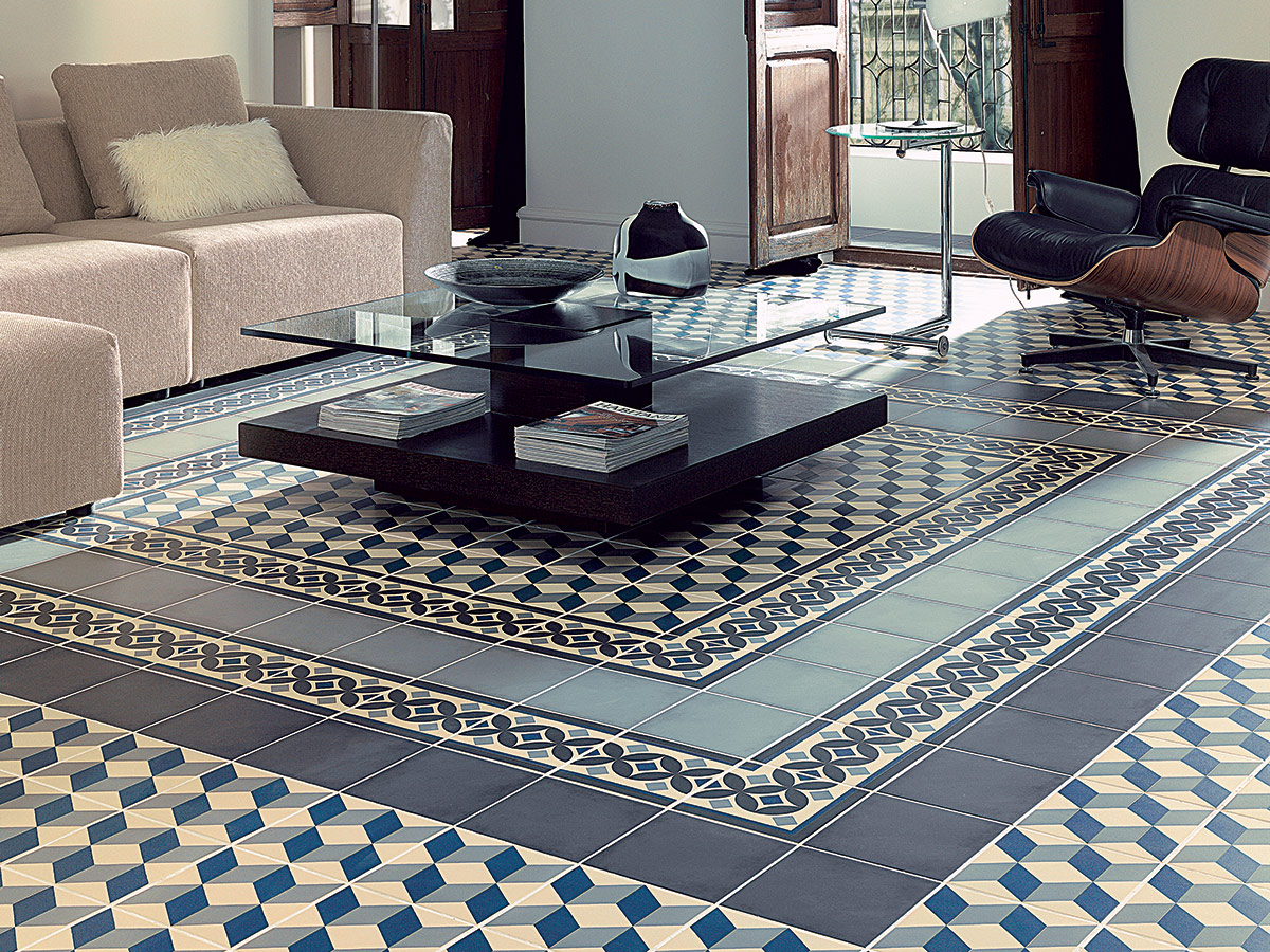 traditional patterned floor but with a modern twist, blending two different colours
