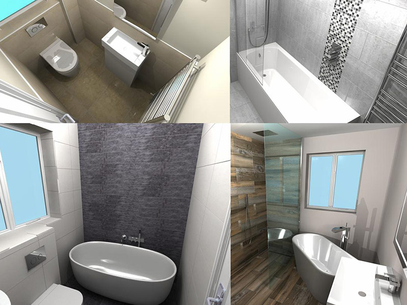 Collage of 3D rendered bathroom designs from DTW Ceramics