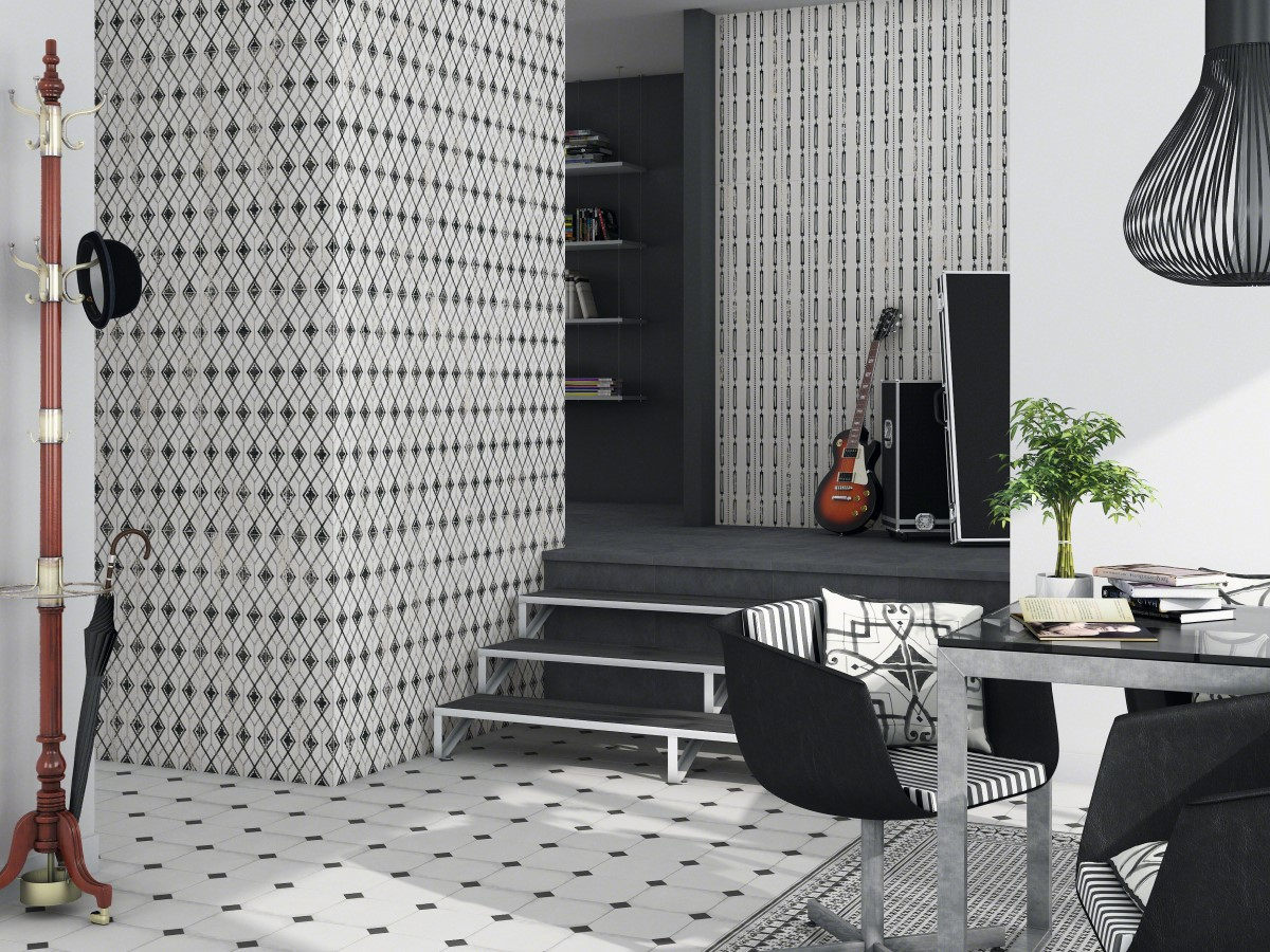 fresh design for a living area or hallway using monochrome colours