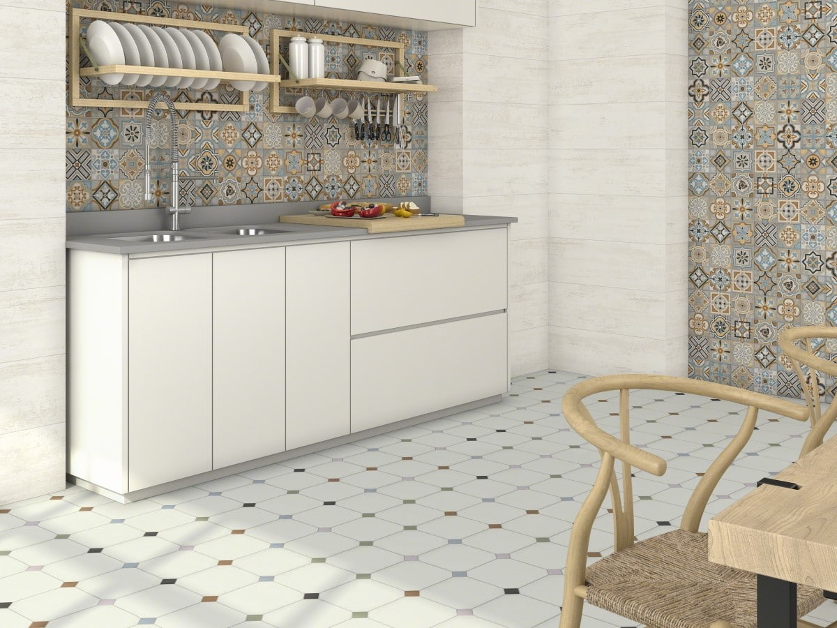 patchwork style kitchen with multi colours octagon floor tiles