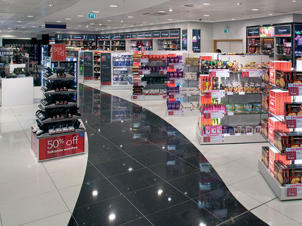 Duty free at Gatwick airport, featuring a custom walk way
