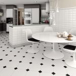 modern black and white themed kitchen with octagon floor tiles