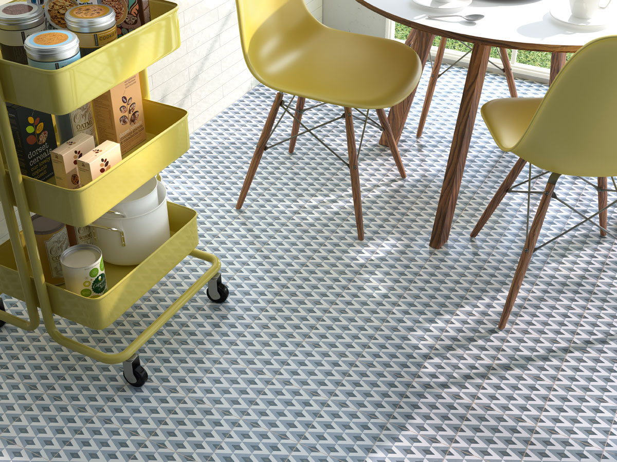 modern, patterned kitchen floor with contrasting lime green chairs and basket