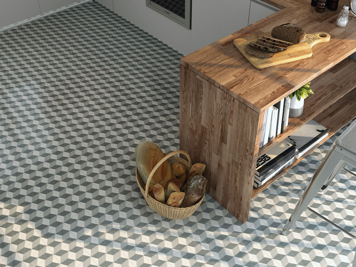 geometric tiled kitchen floor with natural wood breakfast bar