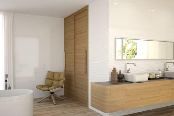 modern bright bathroom with natural wood doors and cabinets