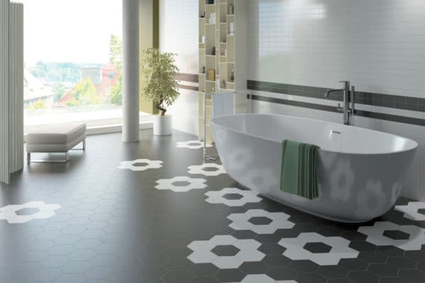 satin black and white hexagon tiles in a bathroom setting