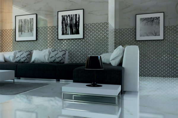 a modern, fully tiled sitting area in marble effect tiles