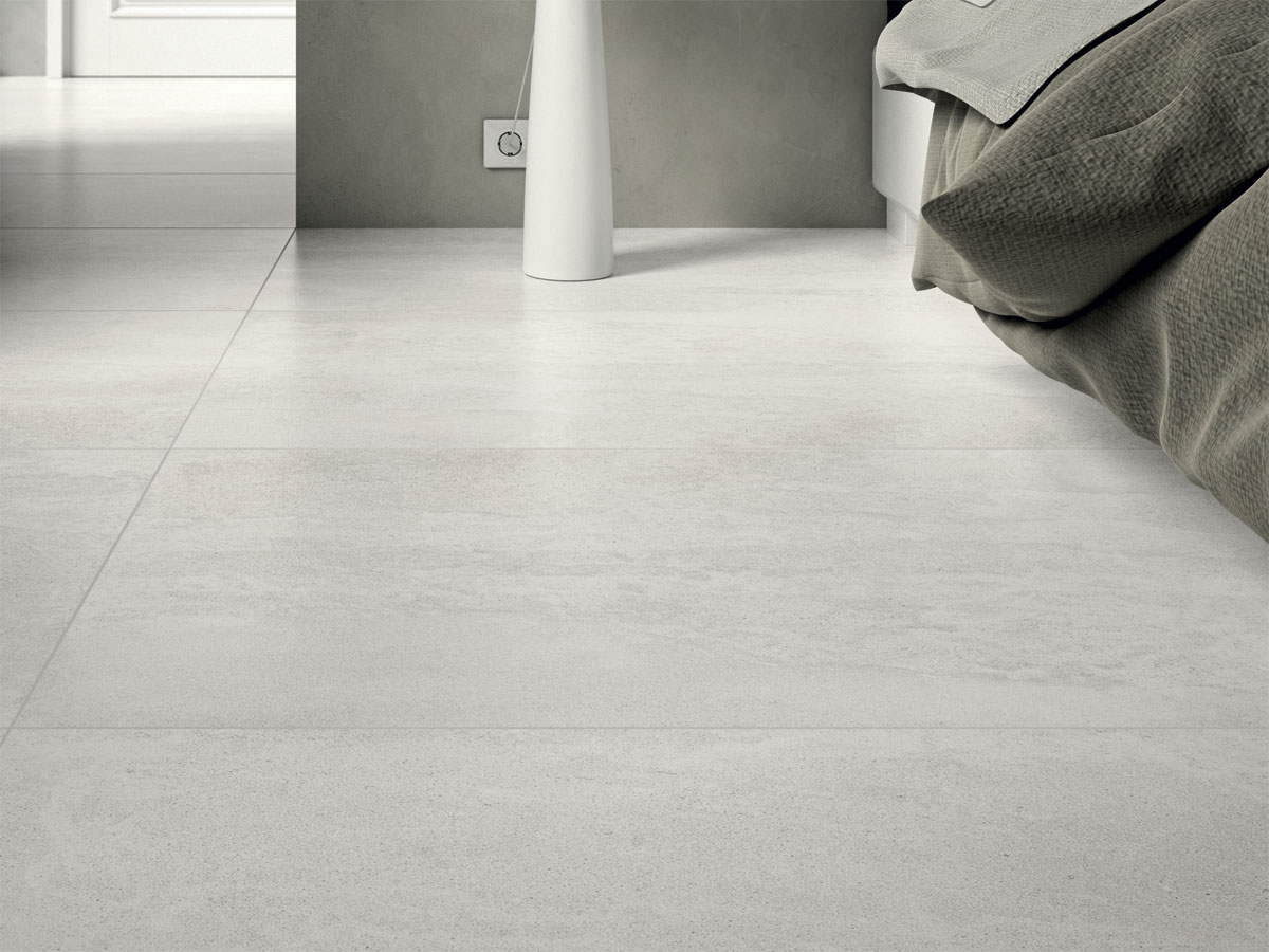 close up image of a grey tiled floor