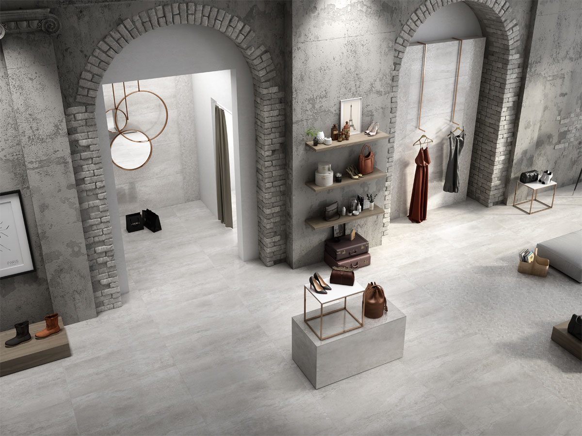 designer boutique changing rooms with a tiled floor