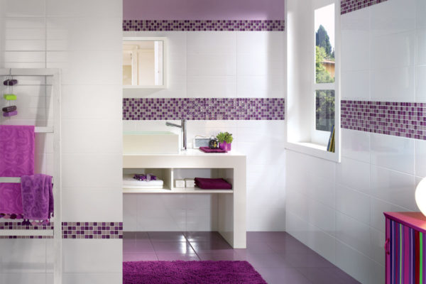 a bright and vibrant bathroom using deep purples and white tiles