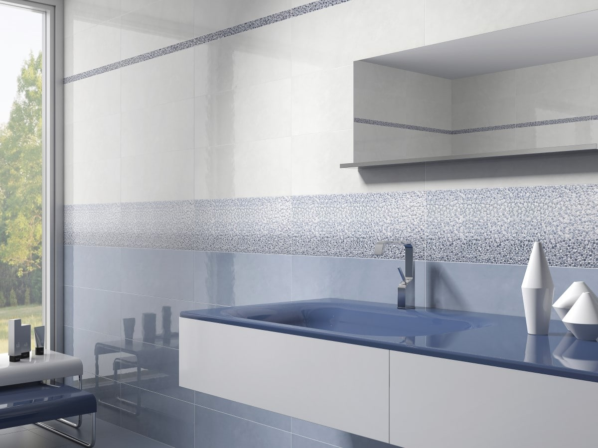 light blue boutique tiles in a modern bathroom