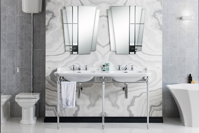 Crosswater his and her basins with Waldorf mirrors