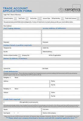 DTW Ceramics trade account form