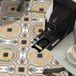 close of of Diglas pattern floor tiles from DTW Ceramics