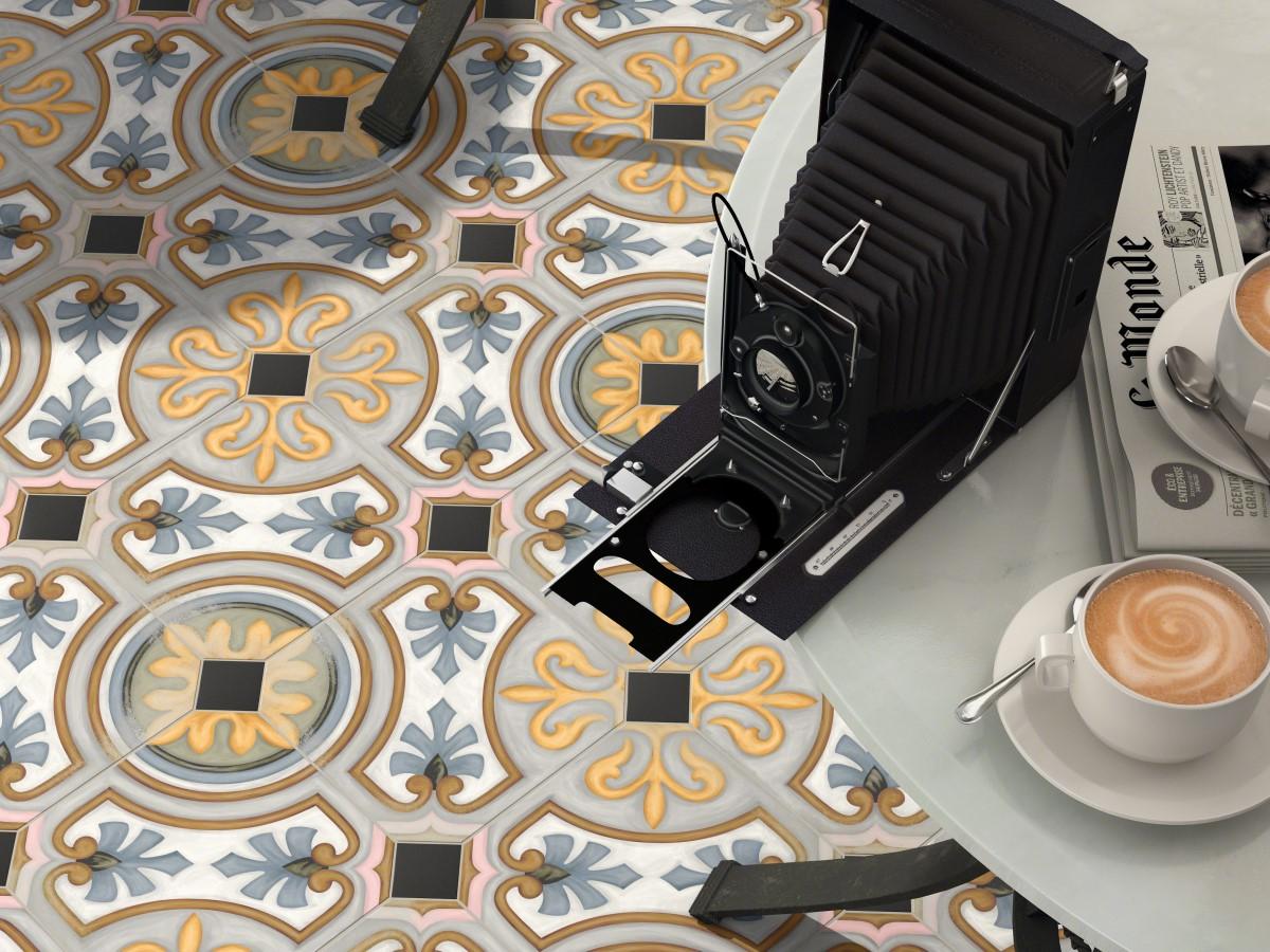 close of of Diglas pattern floor tiles from DTW Ceramics