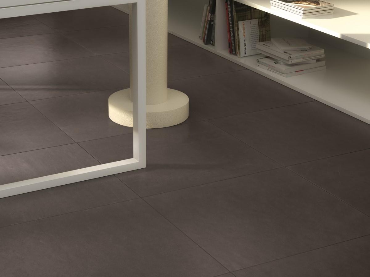featured office design with dark grey floor tiles