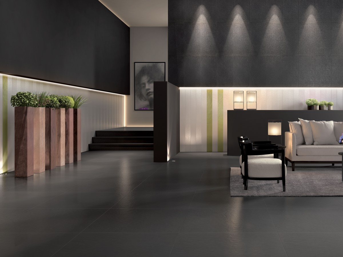 modern living area with fully tiled floor