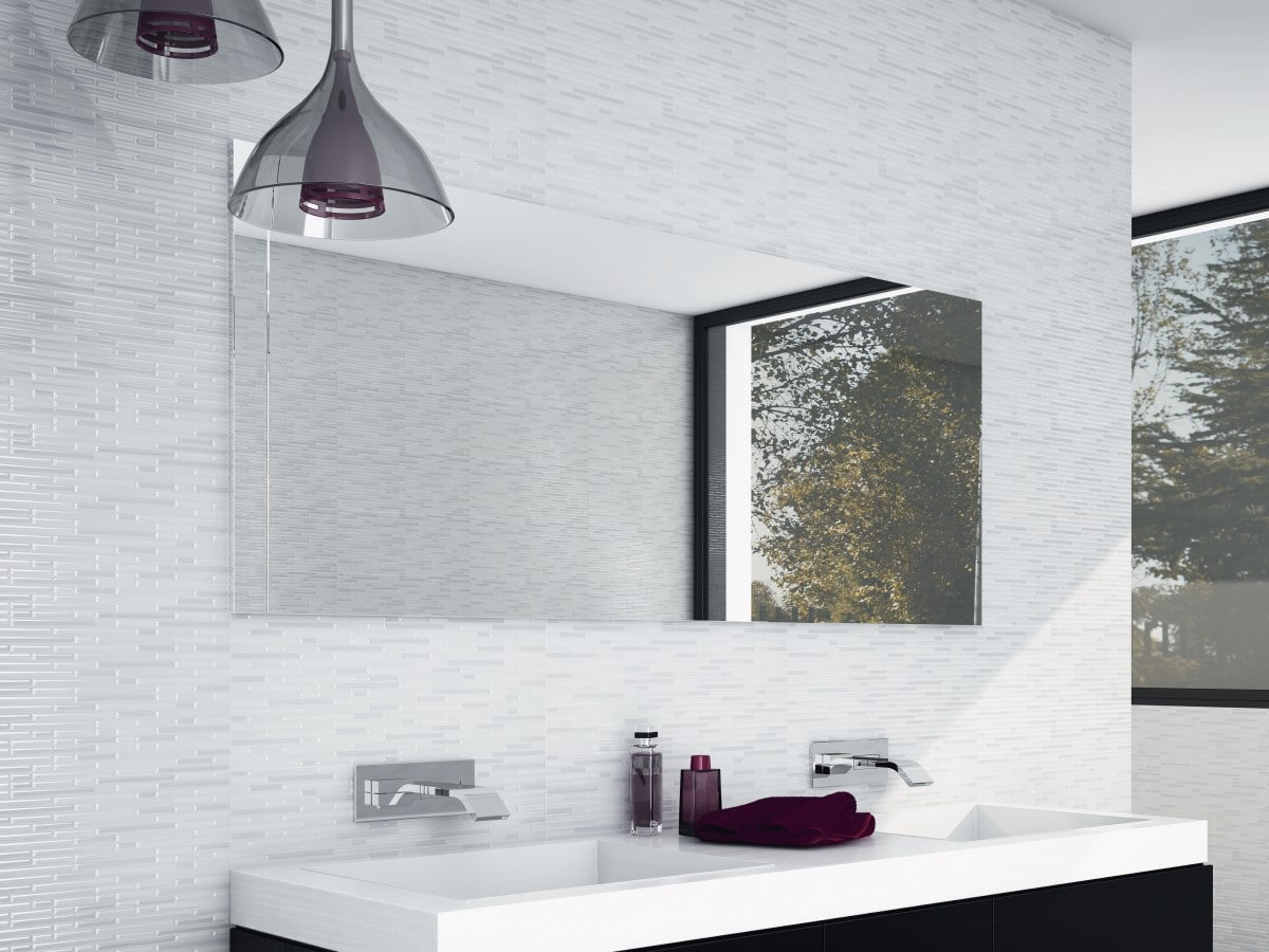 Trending bathroom with white wall tiles