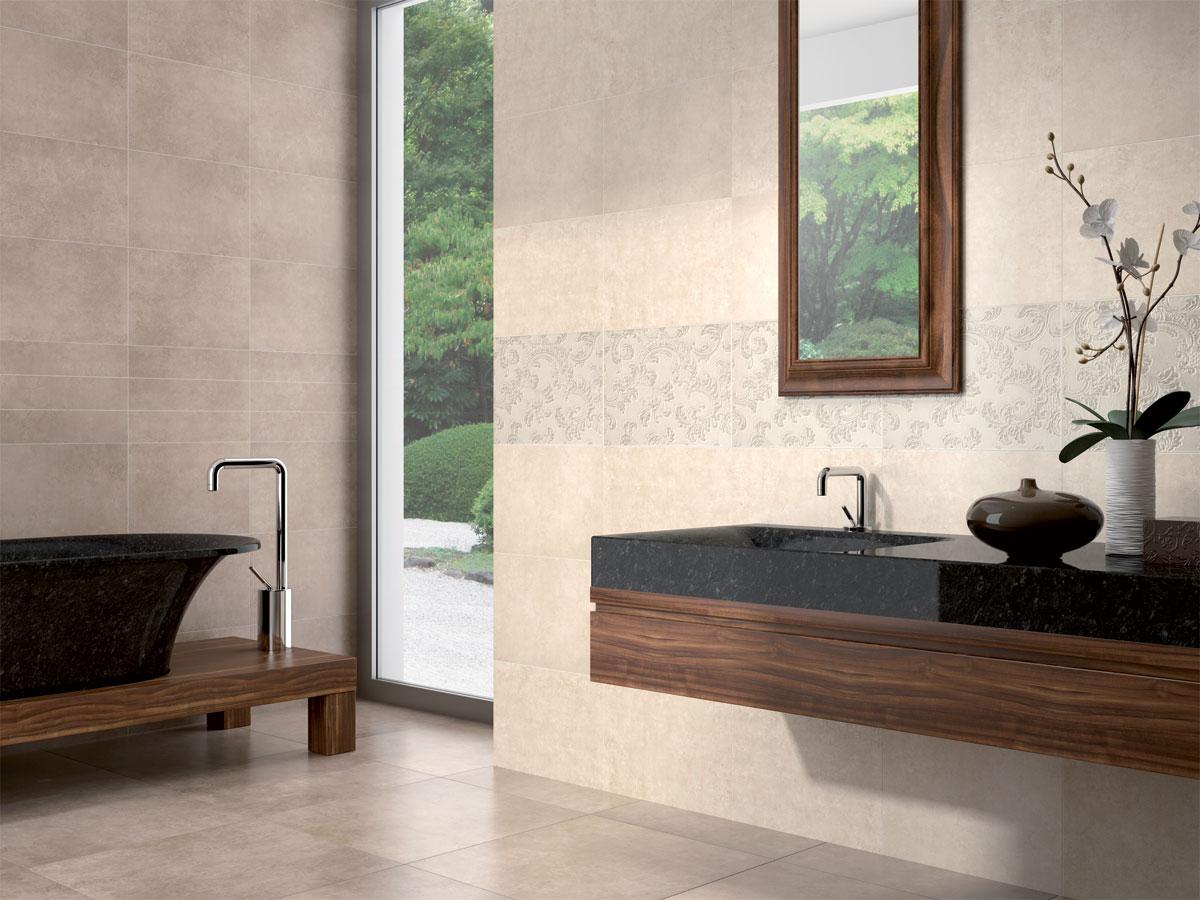 designer bathroom setting featuring Cloud Marfil wall tiles