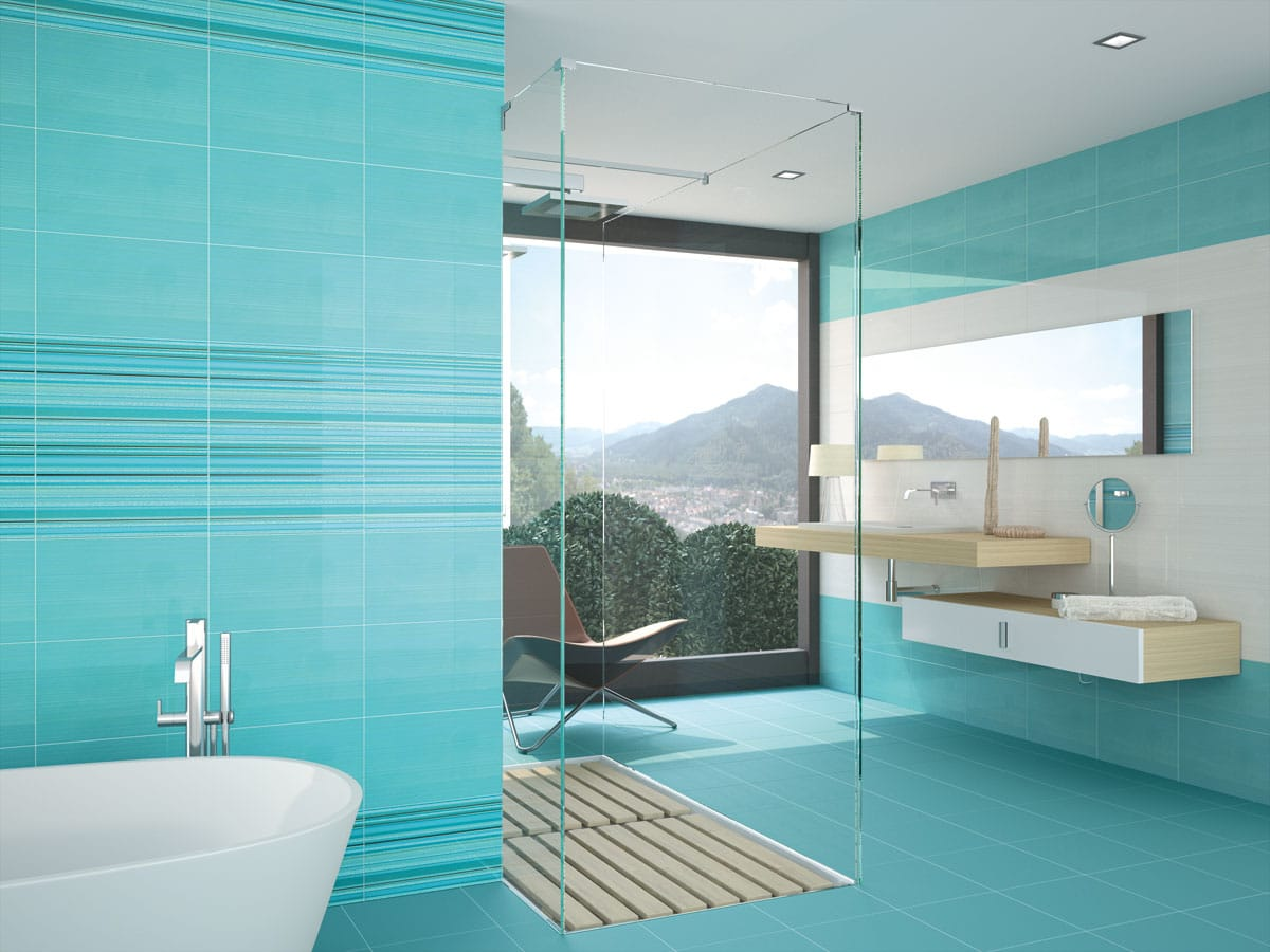 Unique turquoise & neutral wetroom