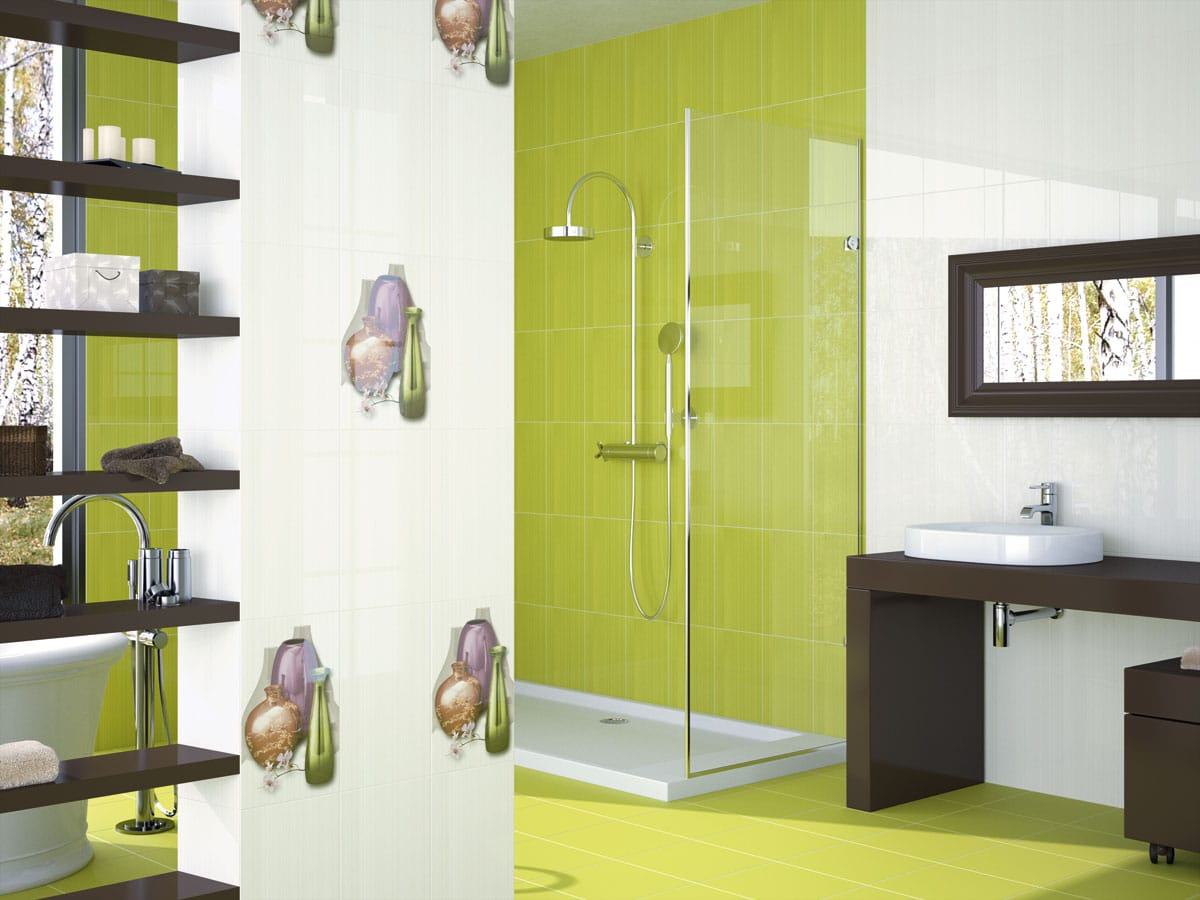 Pistachio green walk-in shower room with a designer basin