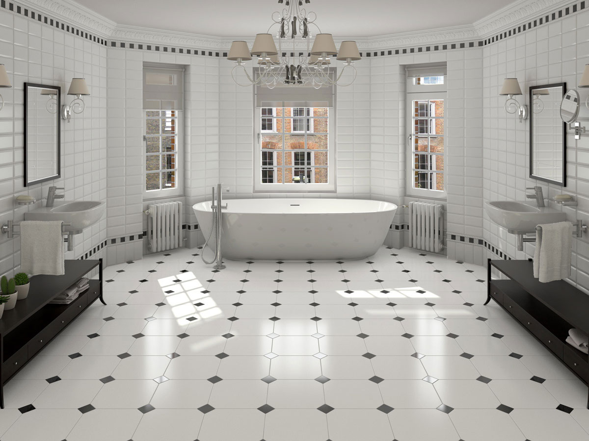 Victorian bathroom with black and white octagon floor tiles