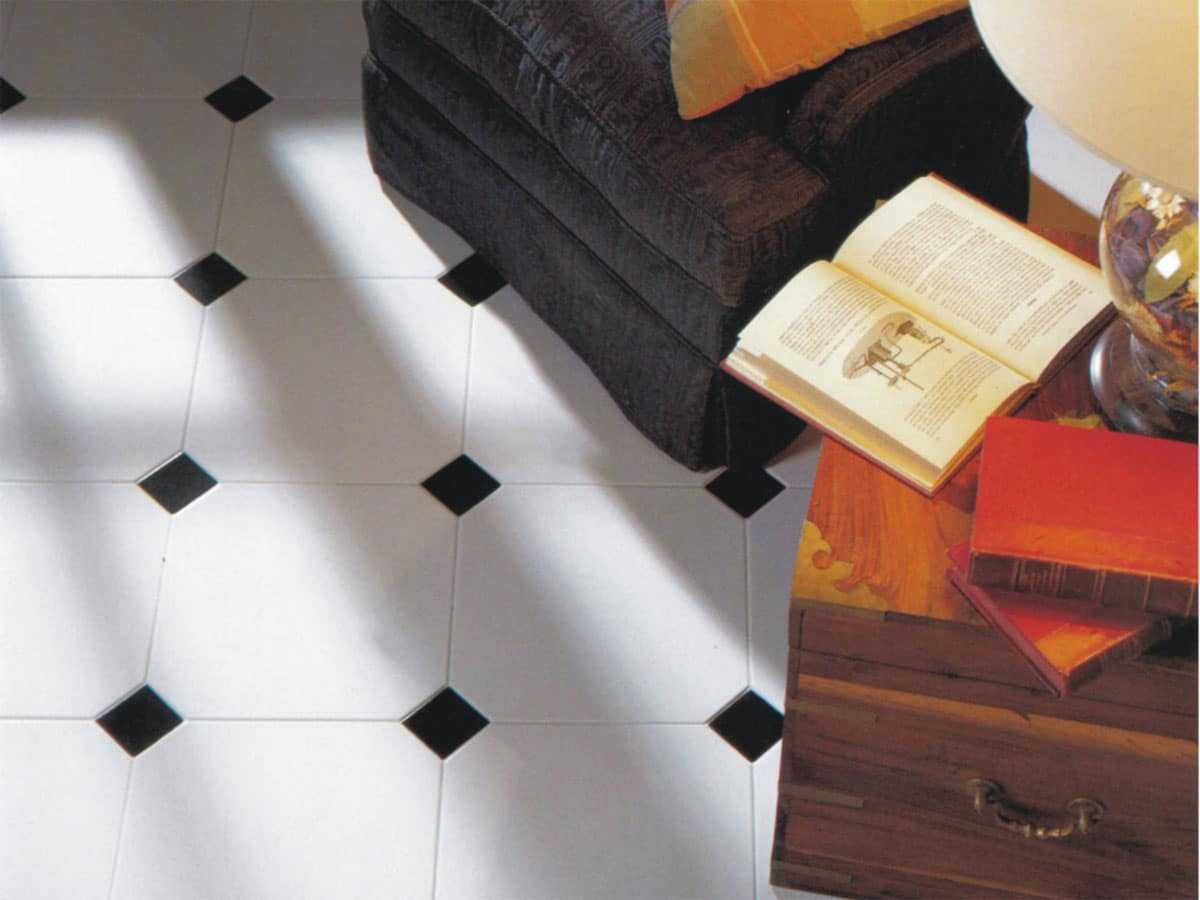 octagon floor tiles close up with black tacos