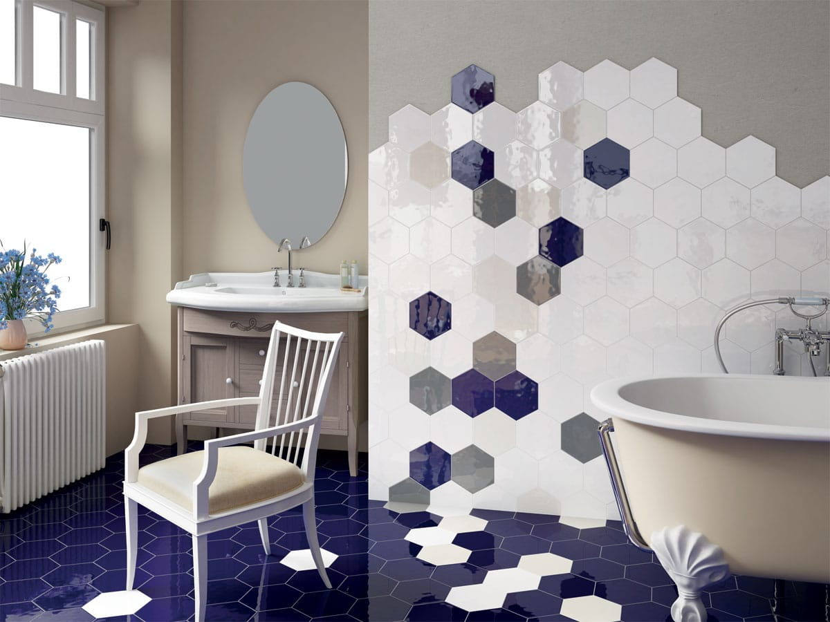 an amazing bathroom tiled in gloss hexagon wall and floor tiles