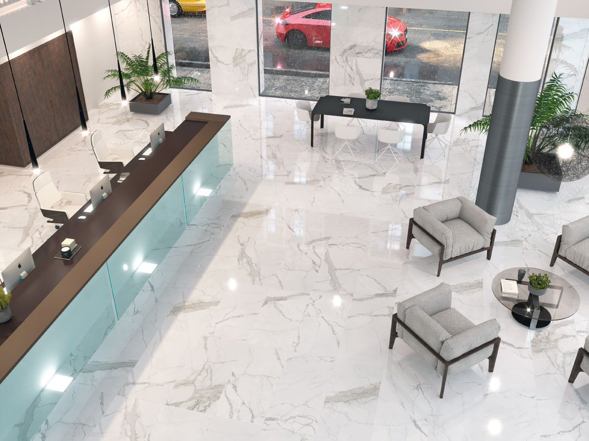 large format, gloss marble effect floor tiles in office reception