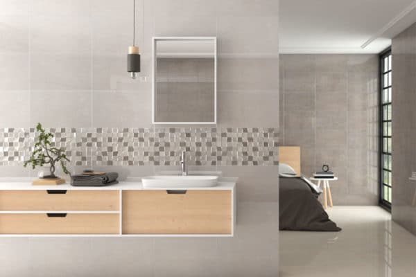 designer ensuite with modern slim countertop basin and storage