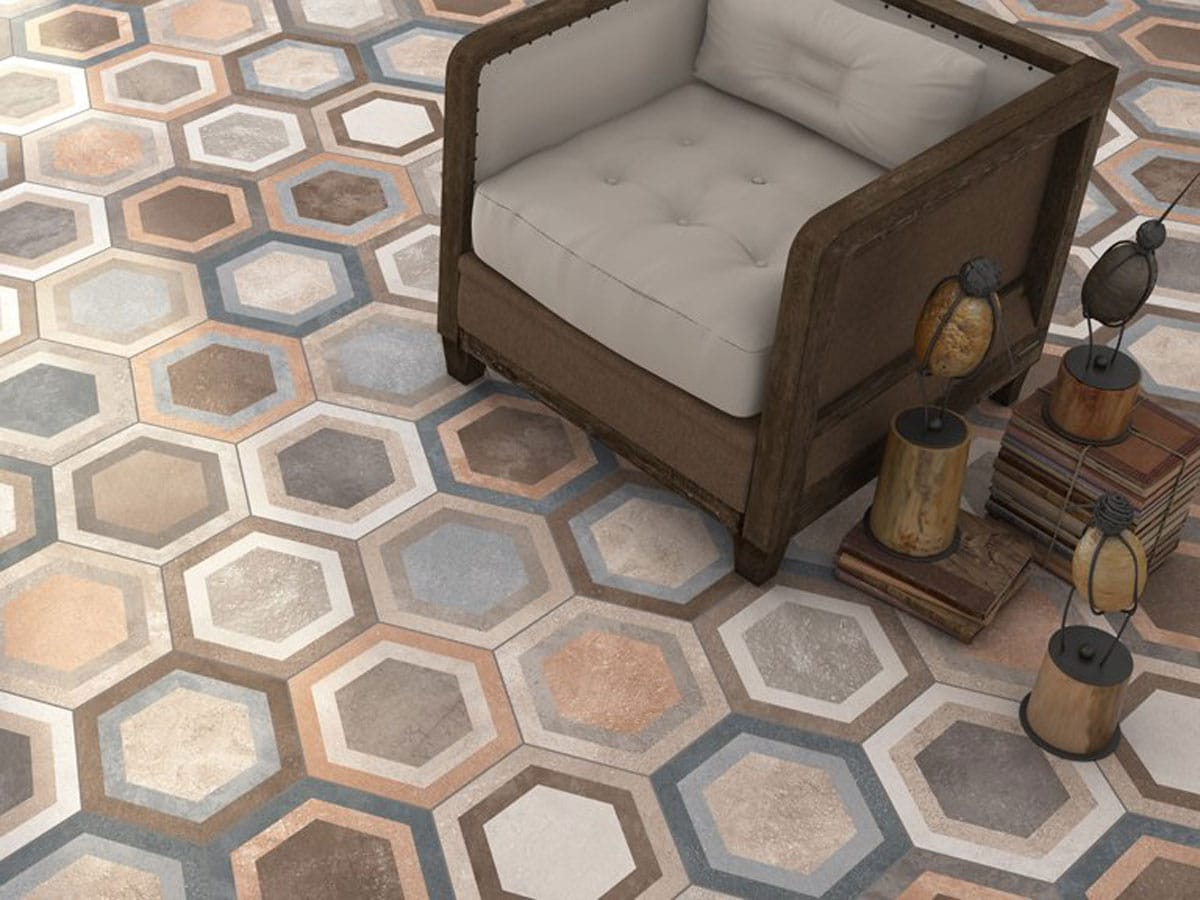patterned hexagon floor tile with vintage furniture