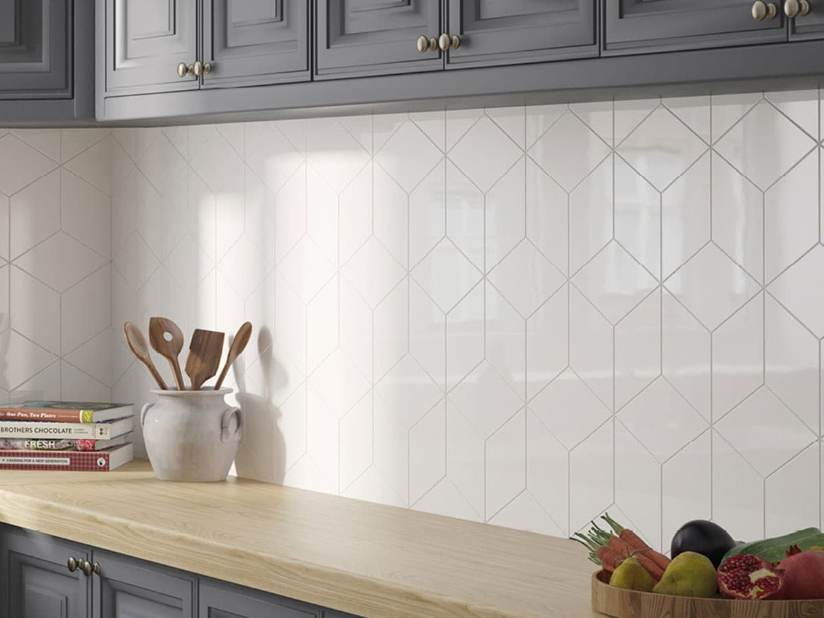 geometric style splash back created with white rhombus tiles