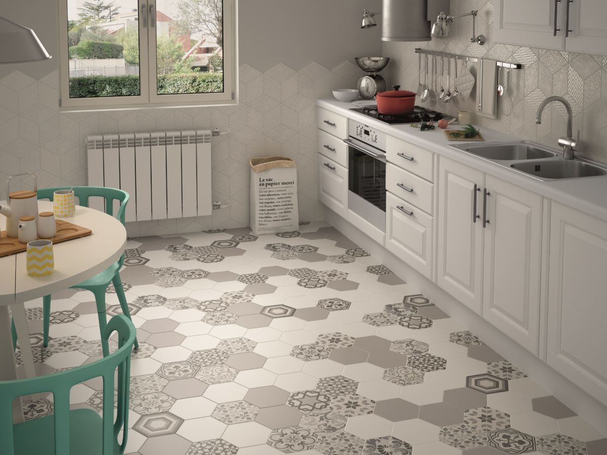 patterned hexagon tiles on a stylish kitchen floor
